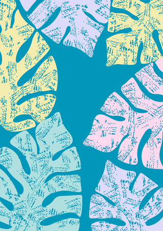 Colorful grunge monstera leaves, tropical poster design, grange style Vettoriali