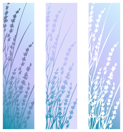 Vertical banners look like bookmarks or postcards with lavender flowers