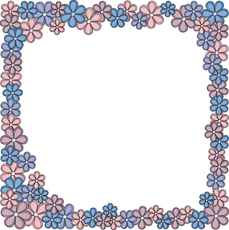 Rectangular frame with flowers, pink, blue, maroon