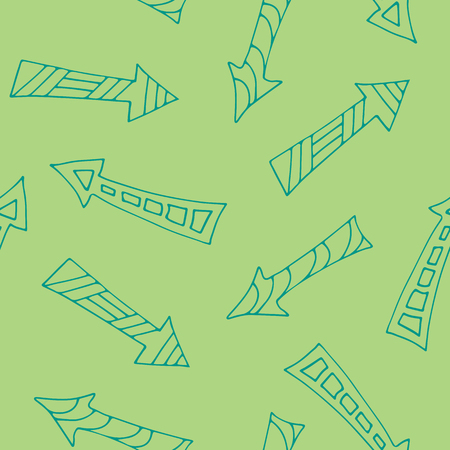 Hand drawn mosaic arrows, seamless pattern, doodle style Illustration