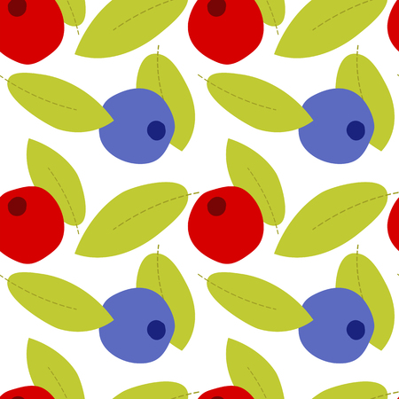 Fruit seamless pattern on transparent background,  cartoon berry with leaves