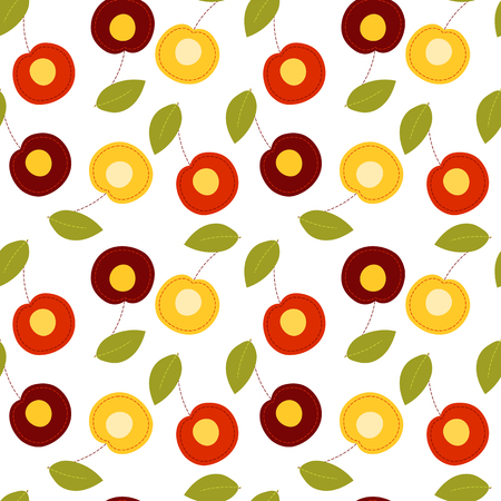 Fruit seamless pattern on transparent background, sliced cartoon cherry