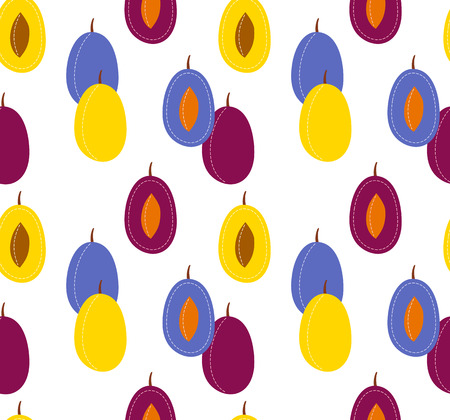 Fruit seamless pattern on transparent background, sliced cartoon plum and prune