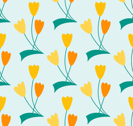 Symbolic line art flower, seamless hand drawn pattern Illustration