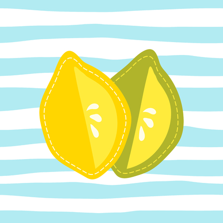 Cartoon sliced lemon and lime, hand drawn citrus fruit on striped background