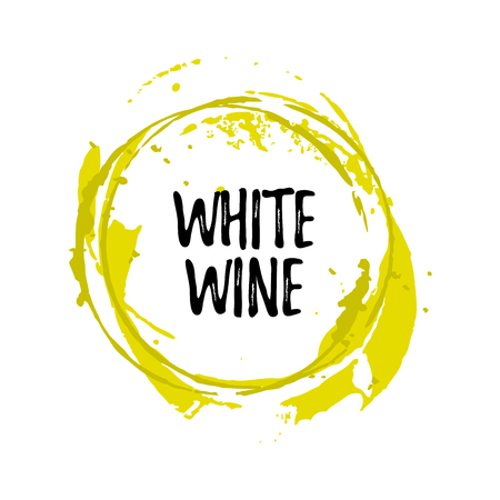 Wine glass stain circle and drops, transparent background, vector design with place for text Иллюстрация