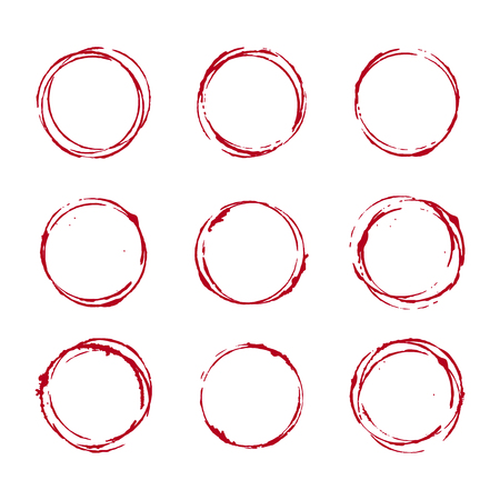 Set of wine glass stain circle, transparent background, vector design elements Illustration