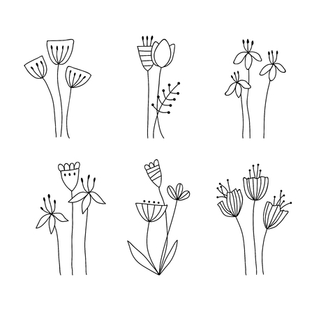Hand drawn flower bouquets on transparent background. Set of doodle floral design elements, flowerbed