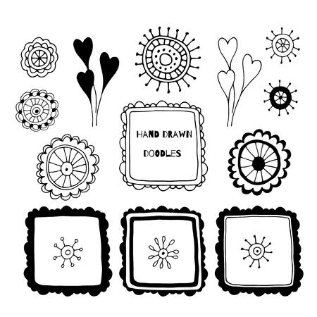 Hand drawn decorative elements, doodle set, vector collection for design