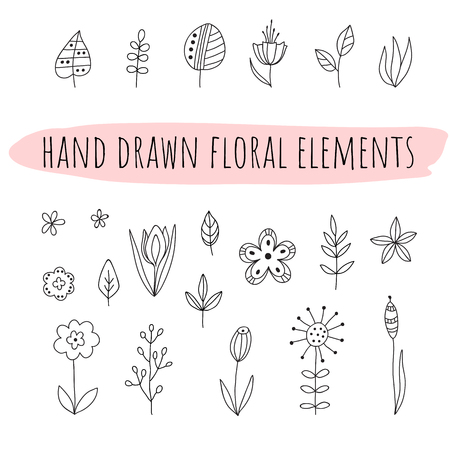 Set of doodle flowers and leaves. Hand drawn floral elements on transparent background.