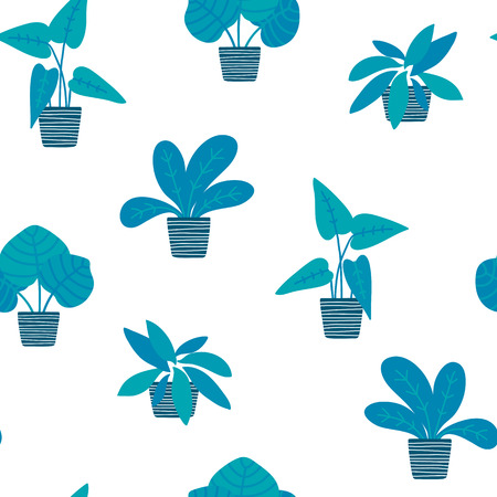 Hand drawn potted plants in flat styleseamless pattern, transparent backdrop.