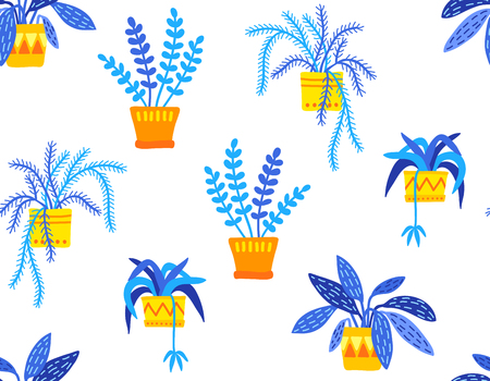 Hand drawn potted plants in flat style seamless pattern, blue and yellow colors, transparent backdrop.