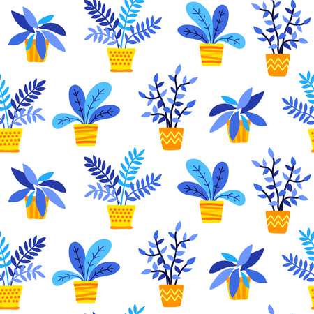 Hand drawn houseplants in flat style seamless pattern, blue and yellow colors, transparent background. Vettoriali