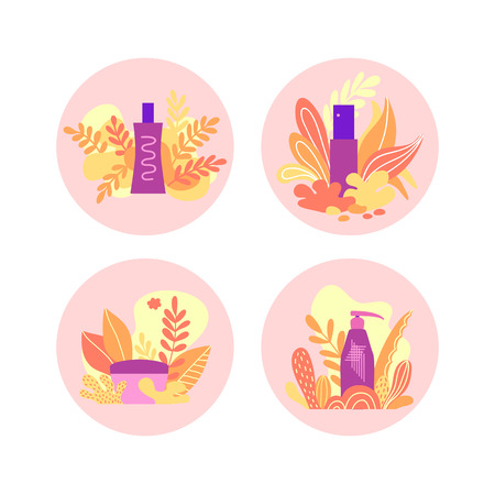 Set of round design with cosmetic tubes and vials. Beauty supplies, natural elements. Hand drawn design for natural care product, organic cosmetics, cosmetology, beauty shop. Flat style.