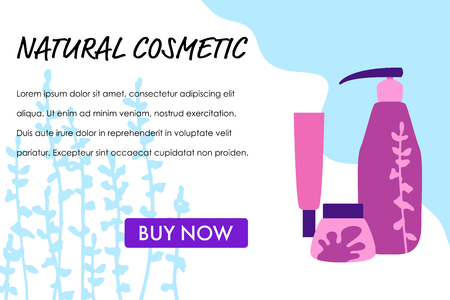 Organic cosmetic, vector illustration in hand drawn flat style, banner template.