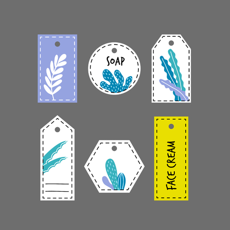 Set of labels for organic cosmetics in flat style, hand drawn design, tags for hand made beauty products.