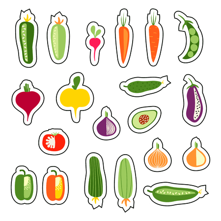Set with hand drawn colorful flat stickers, vegetables, vegetarian food. Carrot, cucumber, tomato, onion, zucchini, courgette, eggplant, pepper, avocado, radish, beet, turnip, pea.
