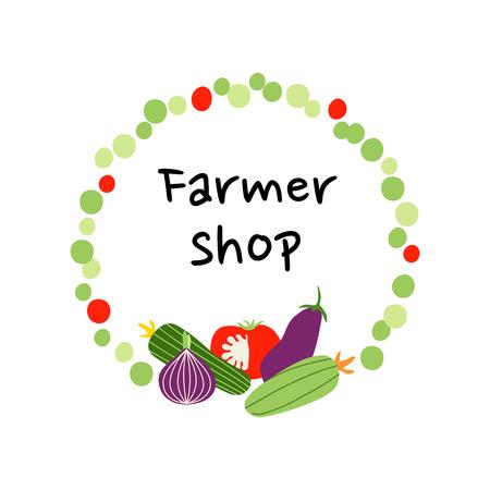 Design for farmer shop, farm vegetables frame, fresh vegan products. Hand drawn flat illustration.