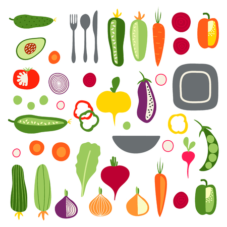 Set with hand drawn colorful flat vegetables and tableware. Carrot, cucumber, tomato, onion, zucchini, courgette, eggplant, pepper, avocado, radish, beet, turnip, pea. Vettoriali