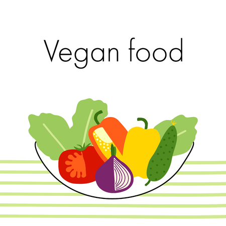 Vegan food on the table. Hand drawn flat vector illustration, cucumber, tomato, onion, pepper, lettuce in bowl. Vettoriali