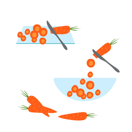Slicing carrot by knife. Hand drawn flat design. Vector illustration isolated on transparent background.