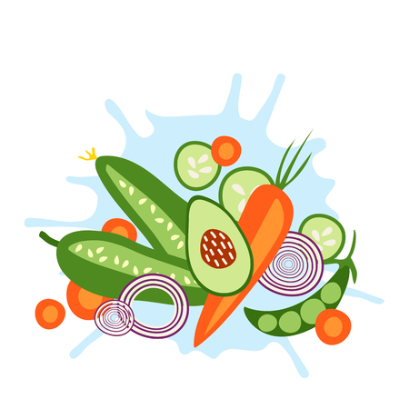 Fresh vegetables. Carrot, pea, avocado, cucumber, onion. Healthy food. Vettoriali