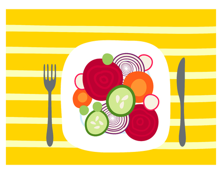 Table with healthy meal, sliced vegetables on the plate. Hand drawn vector illustration. Carrot, cucumber, onion, courgette, beet.
