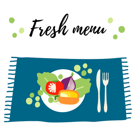 The plate with fresh vegetables. Table with healthy food. Fresh vegetarian menu.