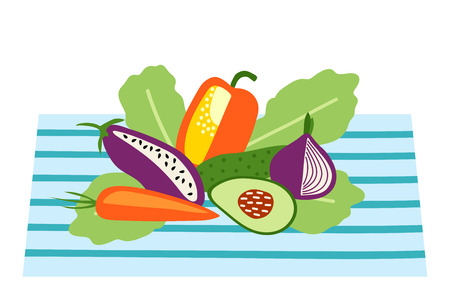 Table with healthy food, healhy menu. Hand drawn vector illustration. Aubergine, pepper, avocado, lettuce.