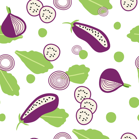 Seamless pattern with eggplants and lettuce in flat syle, transparent backdrop