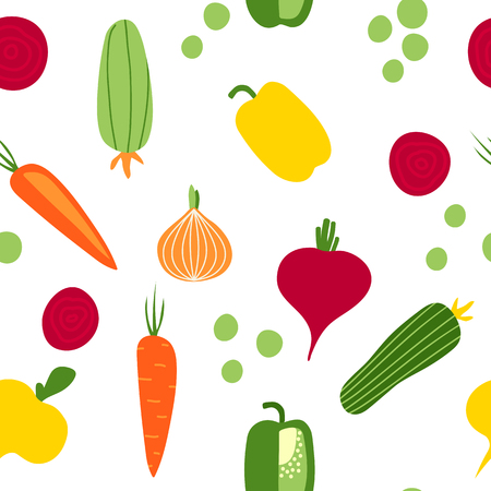 Seamless pattern with root vegetables, hand drawn flat style. Vettoriali