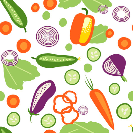 Seamless pattern with fresh vegetables in flat syle on transparent background Vettoriali