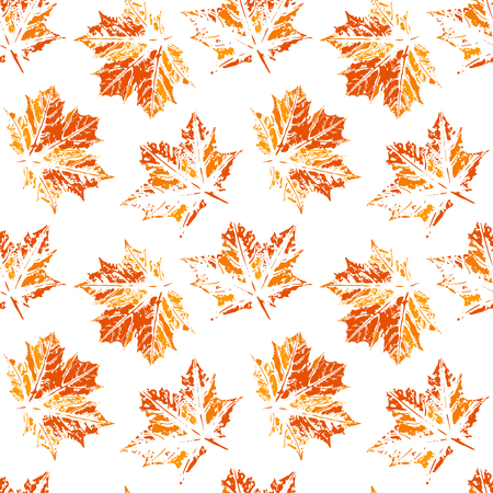 Seamless vector pattern, leaf imprints, autumn colors, natural textures, transparent background 矢量图像
