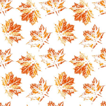 Seamless vector pattern, leaf imprints, autumn colors, natural textures, transparent background Illustration