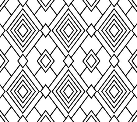 Black geometric seamless pattern, vector rhombus, transparent background Çizim