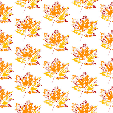 Seamless vector pattern, leaf imprints, autumn colors, natural textures, transparent background Vettoriali