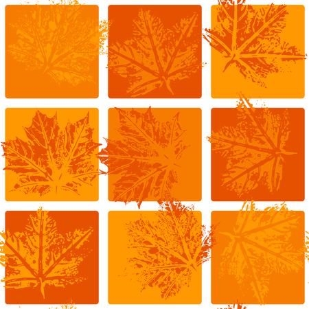 Seamless vector pattern, leaf imprints, autumn colors, natural textures, checkered background