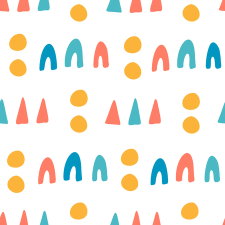 Seamless pattern, kids design, abstract shapes