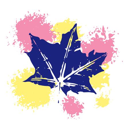 Design of vector leaf imprints, grunge texture, stamp autumn leaves