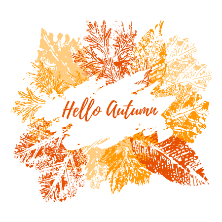 Design of vector leaf imprints, grunge texture, stamp autumn leaves with text