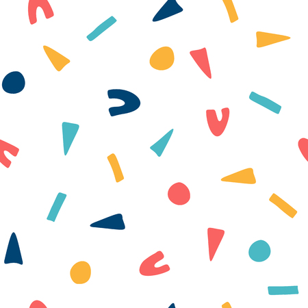Geometric hand drawn shapes, seamless pattern Çizim
