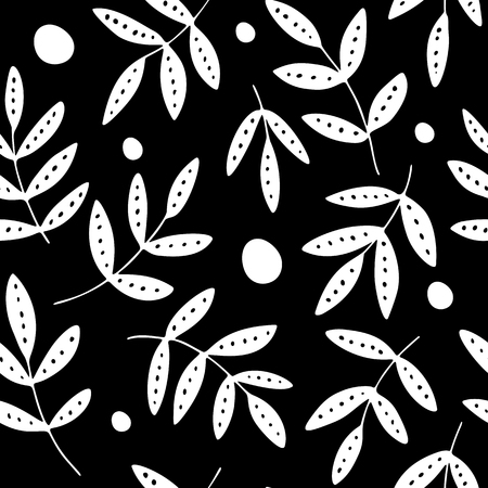 Black-white seamless pattern, hand drawn decorative leaves and dots.