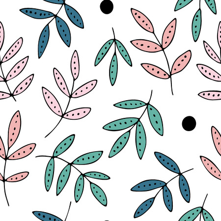 Hand drawn leaves and dots, seamless vector pattern, decorative doodles, pink and green colors