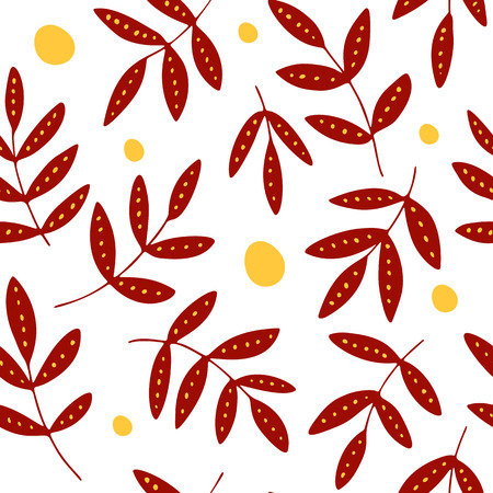 Decorative red leaves and yellow dots in hand drawn flat style, seamless vector pattern, transparent background