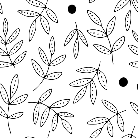 Decorative leaves with dots on transparent backdrop, vector seamless pattern, hand drawn doodles