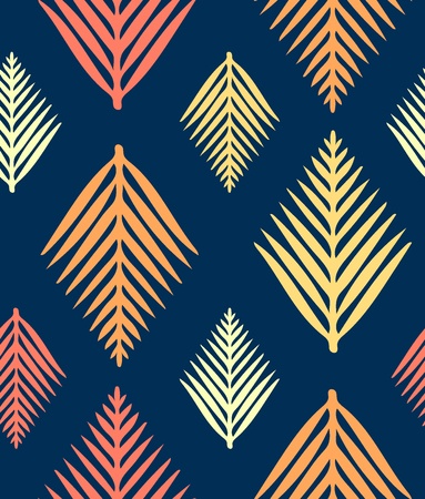 Hand drawn stylized leaves, colored seamless pattern, floral geometric design