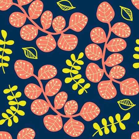 Floral seamless vector pattern, stylized colored leaves