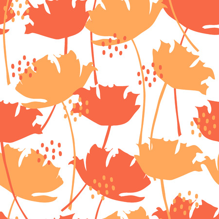 Silhouette of poppies and dots, seamless vector pattern, summer flowers Vettoriali