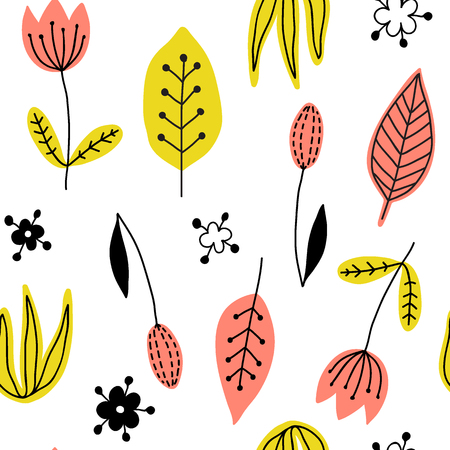 Decorative floral seamless pattern with stylized flowers and leaves