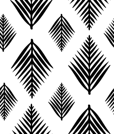Hand drawn stylized leaves, vector seamless pattern for interior, textile, covers